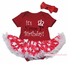 Personalize 1st Birthday Red Bodysuit Pink White Star Girl Baby Dress Set NB-18M