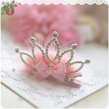 Shine Crown Rhinestone Gross Pink White Faux Fur Bow Hairpin Children Girl Hair Accessories Clip Kids Headwear kk1014(China)