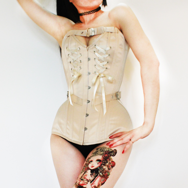 Annzley Corset Victorian Vintage Corset Top With Front Lace And Belt (3)