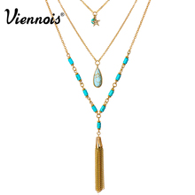 Viennois Bohemian Long Multi Layered Chain Necklace for Women Light Gold Color Tassel Simulated Turquoise Y-Shaped Lariats(China)