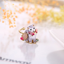 Les Nereides Lovely Cat Gem Opening Ring For Women Party Jewelry Good Quality Lady Party Prom Fashion Accessories(China)