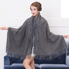 Factory Sale 2017 Fashion Multifunction Magic Lady Winter Shawls Scarf with Real Genuine Rabbit Fur Collar Pashmina Stole Gifts(China)