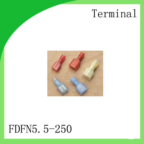 Brass 1000 PCS FDFN5.5-250 cold-pressure terminal Nylon male and female fully insulated cold press docking terminal<br>