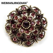 WEIMANJINGDIAN Brand Vintage Gold Color Plated Crystal Rhinestones Flower Antique Brooch Pins for Women in Assorted(China)