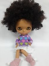 Free shipping cost ,Blyth doll with Afro hair,dark skin toys (BWSN521)(China)