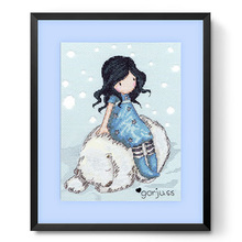 "gorjuss ""Winter Friend"" little girl and Polar bear cartoon DIY Counted Cross Stitch 14CT Cross-Stitching embroidery needlework(China)"