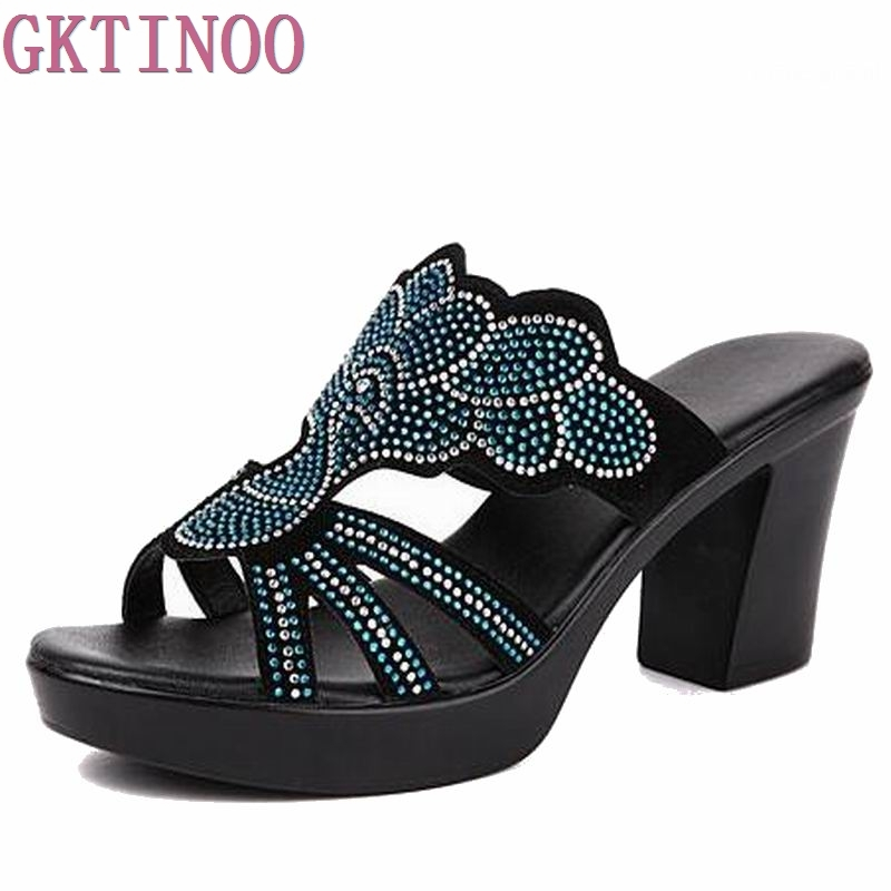 2018 summer women fashion high heel sandals flock surface female slippers rhinestone women shoes plus size 35-42<br>