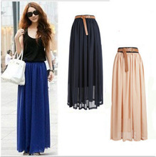 New Brand Fashion Designer Sexy Style Skirt Women Sexy Chiffon Candy Color Long Skirt High Quality Nice designs Hot selling(China)