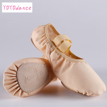 High quality ballet flats flesh canvas stretch sweet women's flat shoes for Ballet dancers children's Practice dance shoes 4058(China)