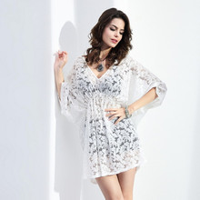 BornToGirl Summer Beach Big Size Women Loose Smock Dress 2017 Holiday Half Sleeve Sexy V Neck Lace Mini White Dress robe femme