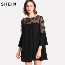 Buy SHEIN Black Embellished Mesh Panel Flare Sleeve Dress Women Round Neck 3/4 Sleeve Lace Casual Dress 2018 Spring Shift Dress for $16.00 in AliExpress store