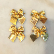 12pcs Gold Solid Bow Tie Polyester For Festival Decoration Christmas Tree Hanging Ornament Wholesale enfeites de natal