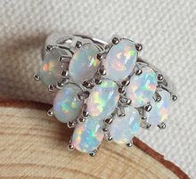 Fashion cluster white fire opal ring for lady's gift(China)