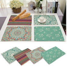 42x32cm Geometry Pattern Cotton Linen Western Pad Placemat Insulation Cloth Dining Table Mat Coasters Kitchen Accessories