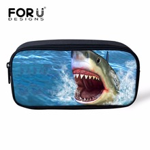 FORUDESIGNS Cool 3D Shark Animal Print Women Cosmetic Case Organizer For Make up Kids School Pencil Box Pen Pouch Stationary Bag(China)