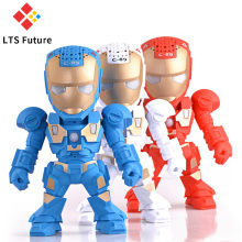 LTS Iron Man Wireless Bluetooth Speaker Fashion Black Cute Robot Speakers With LED Flash Lighting Mic MP3 Player For Android IOS