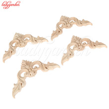 4PCS Wood Onlay Applique Wooden Oak Woodcarving Decal Wood Carved Corner Frame Furniture Decorative Sculptures 8/10/12/15CM(China)