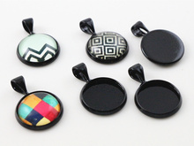 20pcs 12mm Inner Size Black Plated Brass Material Simple Style Cabochon Base Cameo Setting Charms Pendant Tray (A2-26)