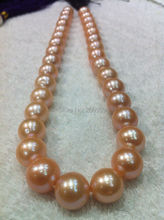 "Free shipping   003542 huge AAA+++ south sea 13-15mm pink pearl necklace jewelry 18"" 14"