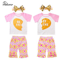 Pudcoco Heart Girls Clothing Set Letter Girls Clothes Set Best Friend Toddler Girl tops + Pants Girls Suit Kids Clothes