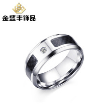 fashion men's 8mm rings for man Black carbon fiber zircon ring jewelry accessories for party gift R-229(China)