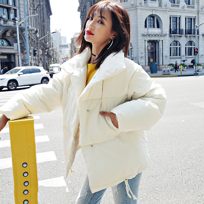 Korean Style 19 Winter Jacket Women Stand Collar Solid Black White Female Down Coat Loose Oversized Womens Short Parka 25