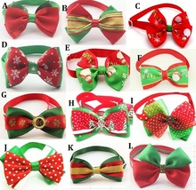 200PCS UPS Free shipping  Christmas Dog Bow Tie Dogs Festival Tie Pet Accessories Wholesale F01  by UPS fast shipping
