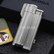 COHIBA Gadgets Multifunctional Metal 3 Torch Jet Flame Wind Resist Refillable Gas Cigar Lighter Tobacco Cigarette Fire Lighter