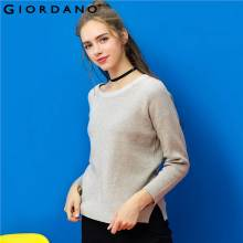 Giordano Women Sweater V-neck Crewneck Long Sleeves Knitted Pullover Solid Casual Warm Tops Women Vents Design Clothing Garment(China)