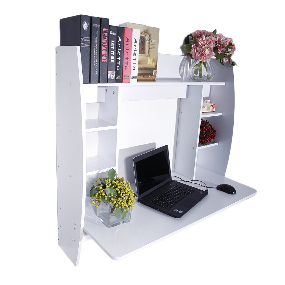 US Shipping Exquisite Room-saving Wall Built-up Computer Desk White(China)