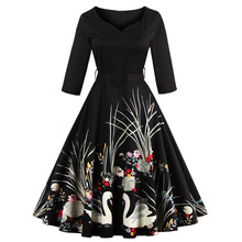 High quality fashion brand new single spring 2017 European women height positioning flower dress code S-4XL Swan