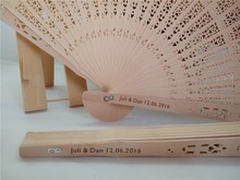 100pcs/lot fragrance wood fan Chinese style wedding fan with bride & groom's name & wedding date personalized(China)