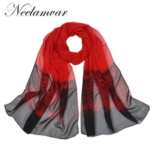 Neelamvar From India Shawls and Scarves Hot Women Winter Fashion Style Gradient color Chiffon Shawl Wrap Echarpe 2017(China)