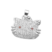 New Fashion Women Girls Nice Cute Hello Kitty Charms Metal Copper with Clear Zircon Paved Cartoon Cat Pendant