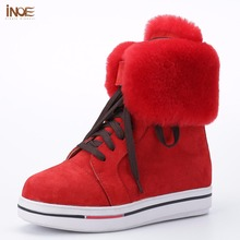 INOE fashion style lace up short ankle snow boots for women winter shoes sheep fur lined pigskin leather boots Clearance brown