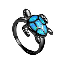 Unique Turtle Blue Fire Opal Animal Rings For Women Wedding Band Fashion Jewelry Vintage Black Gold Filled Cocktail Ring RG1048