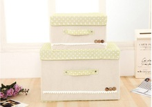 Non-woven fabric foldable storage box, beige color, sanitary pad storage box with tape and handle, large size