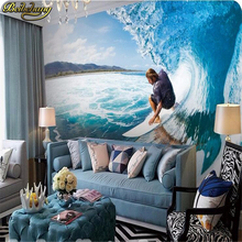 beibehang papel de parede 3D Surf sea extreme sport fitting decoration personalized tooling 3D wall paper background dining room(China)
