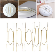 1PC New 8/10/12/14/16 Inch Stainless Steel Wall Display Plates Hanger W Type Dish Spring Holder Invisible Hook Home Decor