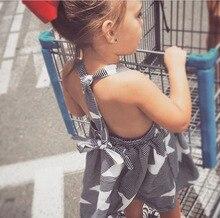 New 2018 Summer Girls Dress Kids Stripe Dress Children Five Star Overalls Baby Backless Dress Toddler Fashion Dress,2-7Y