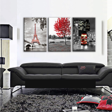JIE DO ART Canvas Wall Art Pictures Framework Home Decor Room Poster 5 Pieces Paris Modern Eiffel Tower Car Red Maple(China)
