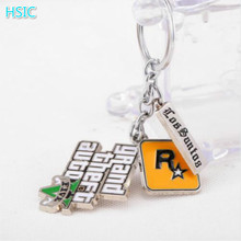 HSIC 50pcs/lot Game PS4 GTA 5 keychain Theft Auto 5 Key Chains for Fans Xbox PC Rockstar KeyHolder Llaveros Accessories 4.5*4cm