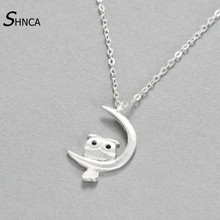 SHNCA Brand 100% 925 Sterling Silver Lovely Owl Pendants & Necklaces For Women Silver Necklace Fashion Jewelry collares N002(China)