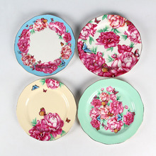 Bone China flower hand-printed plate dinner dishes four designs