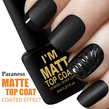 Paraness Matt Gel Lacquer Top Coat UV LED Gel Varnish Clear Matte 8ml Gel Soak off Nail Polish Vernis Semi Permanent