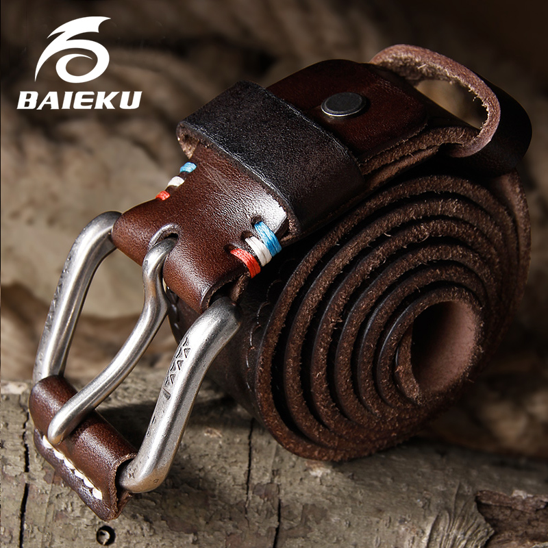 BAIEKU Genuine leather belt Pin buckle men's belt Vintage style leather belt Unisex models