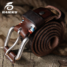 Buy BAIEKU Genuine leather belt Pin buckle men's belt Vintage style leather belt Unisex models for $18.88 in AliExpress store