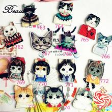 Cute Cat Kitty Badges for Clothing/Bag/Shoe Icons On Backpack 3D Acrylic Badges Badge Icon Pin Brooch XF122(China)