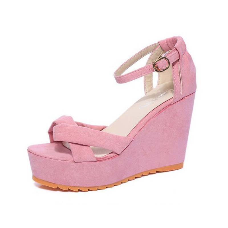 2017 new summer shoes with thick bottom slope Korean wedges muffin fish mouth toe high-heeled shoes cross strap womens sandals<br><br>Aliexpress