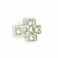 Hot selling Alloy silver rhinestone cross floating charm fit DIY floating locket necklace jewelry(China)